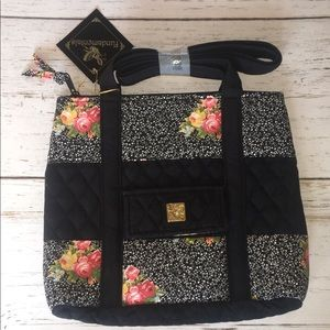 Cute Black/Floral Handbag NWT